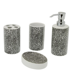 Elephant Print 4 Piece Bathroom Set