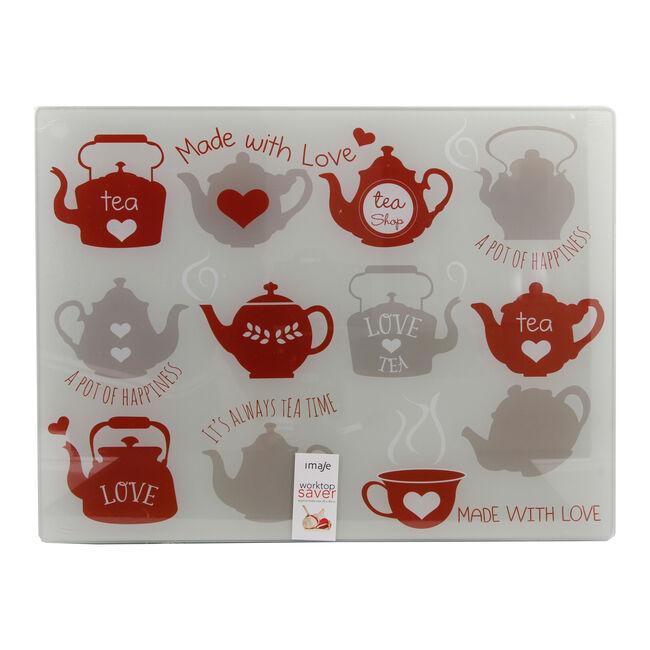 Teapots Red Glass Worktop Saver