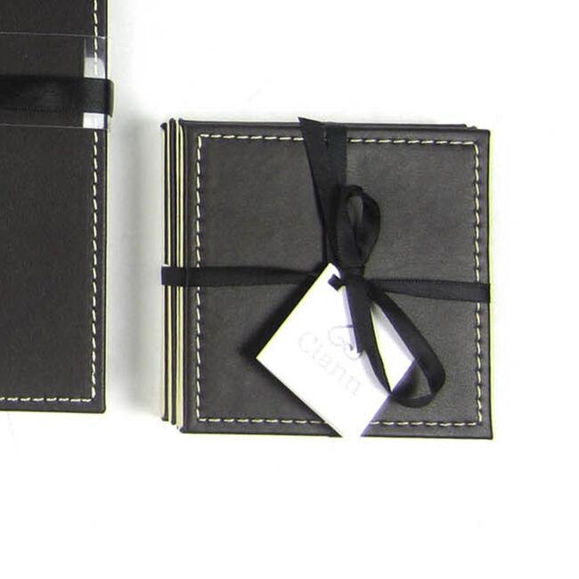 Reversible Leather Plain Coasters - Choc & Cream