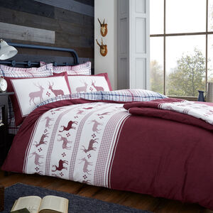 SINGLE DUVET COVER Brushed Cotton Fairisle Stag Berry