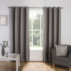 Crosshatch Silver Curtain
