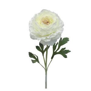 Ranunculus Flocked Stem Cream Flower 46cm