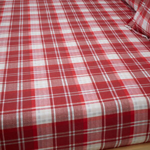 BRUSHED COTTON PLAID STAG Single Fitted Sheet