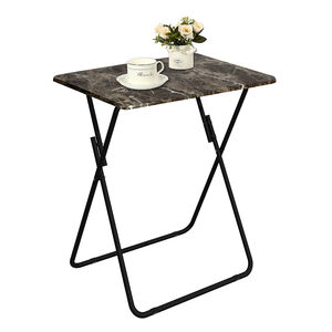 Folding Table Dark Marble Effect 48x38x66cm
