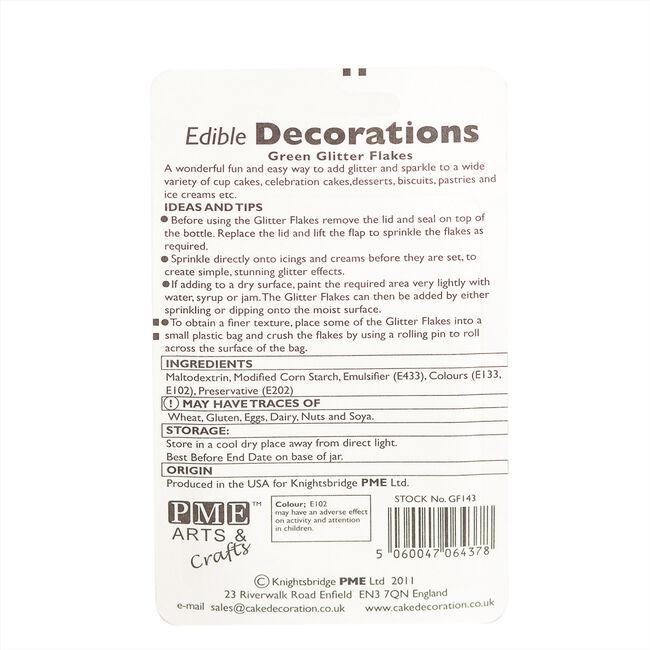 PME Edible Glitter Flakes 7.1g - Green