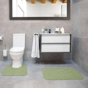Cotton Plain Dye Green Bathroom Set