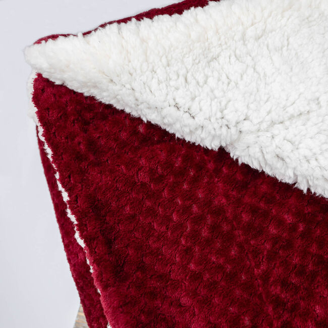 Nicole Day Waffle Sherpa Throw 130x170cm - Red