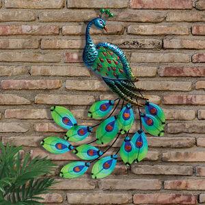 Decorative Glass Peacock Garden Wall Art