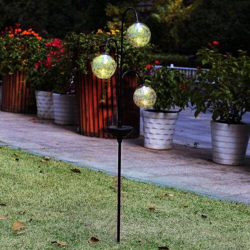 3 Crackle Ball Solar Stake Light
