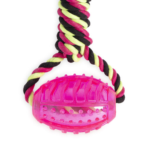 Strong Rubber Ball & Rope Tug Dog Toy