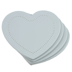 Reversible Heart Grey & Duck Egg Coasters