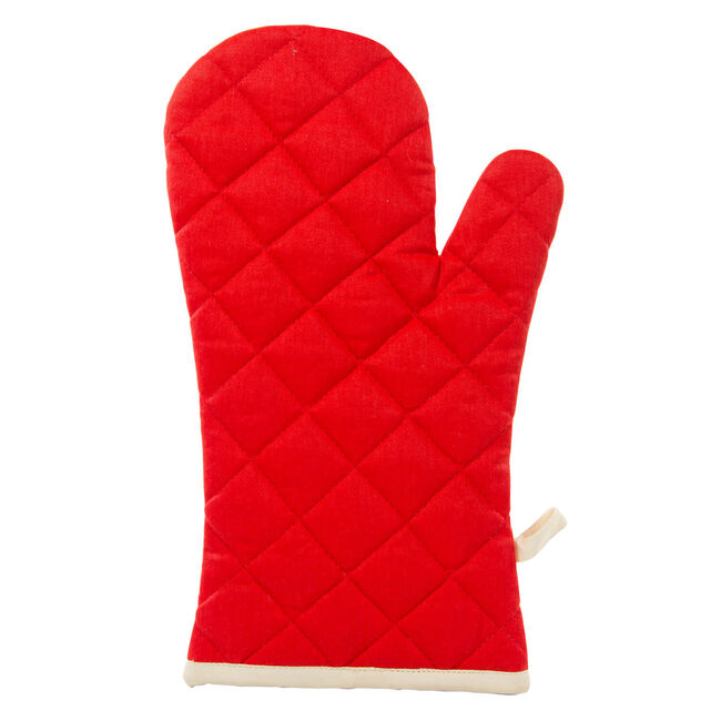 Two Tone Single Oven Glove Red/Cream