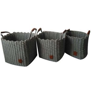Weft Square Grey Baskets Set of Three