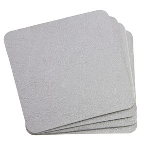 Leather Silver 4Pk of Coasters