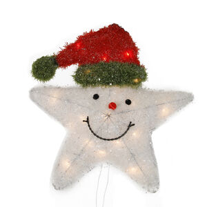 Crystal White Tinsel Star With Red Cap