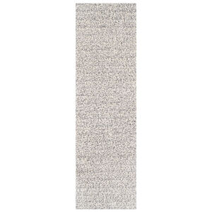 Elsa Shaggy Plain Runner - Grey/White