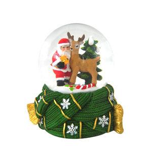 Santa & Reindeer Musical Snow Globe