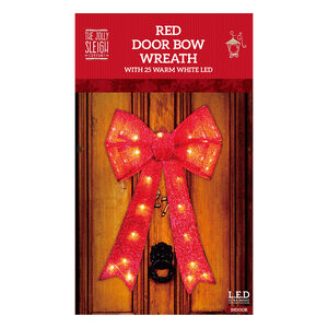 Red Door Bow Wreath with 25 Warm White LED