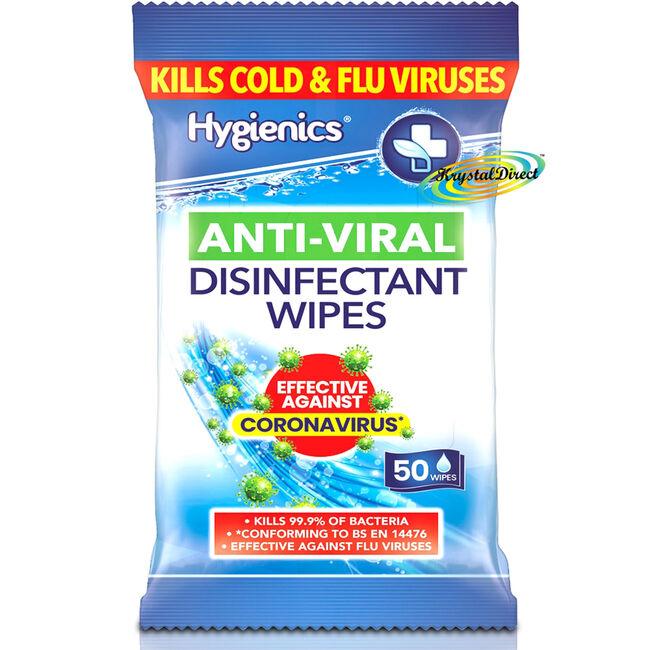 Hygienics Anti-Viral Disinfectant 50 Wipes
