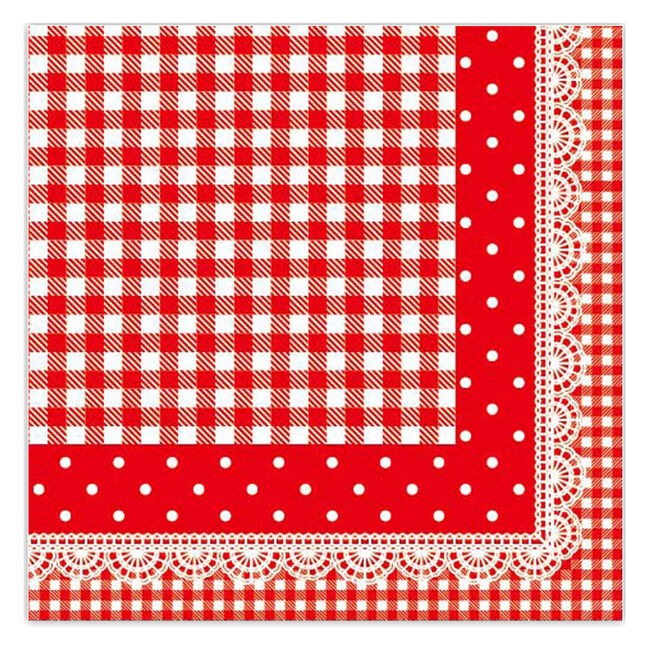 Lace Gingham Red Napkins 20 Pack
