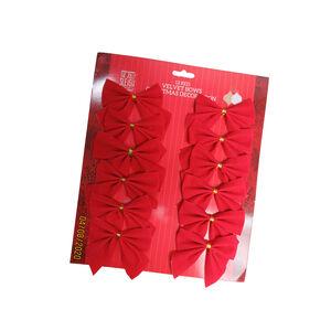 Velvet Bows Christmas Decoration 12 Pack - Red
