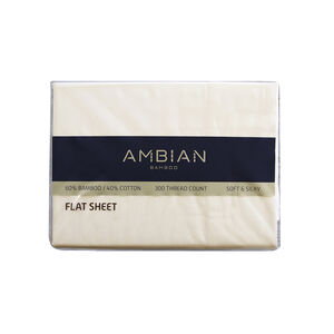 SINGLE FLAT SHEET 300Tc Bamboo/Ctn Cream