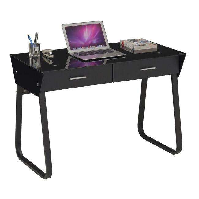 Black Computer Desk Metal and Glass