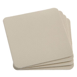 Leather Cream Coasters 4Pk