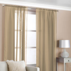 Slot Top Voile Curtains Latte 2 Pack
