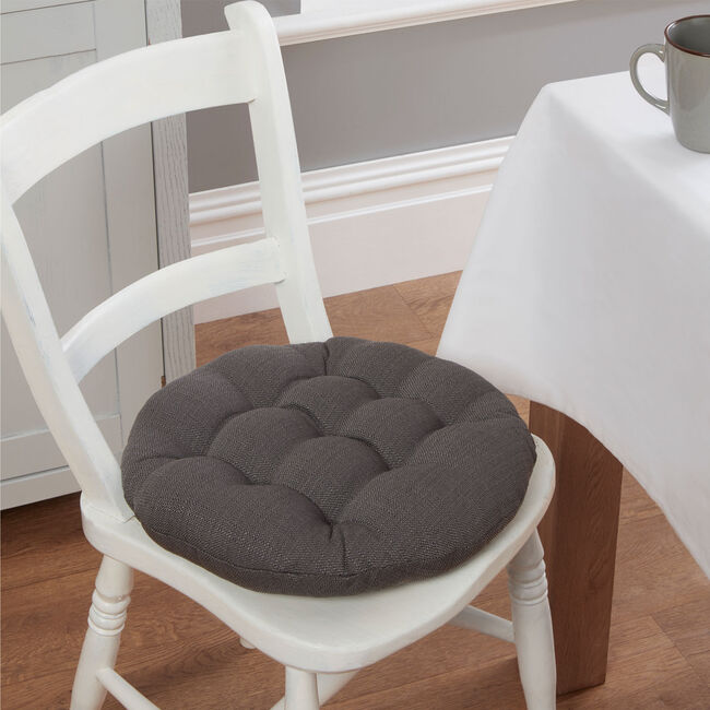 Round Woven Charcoal Seat Pad