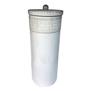 Aged White Mosaic Toilet Roll Holder