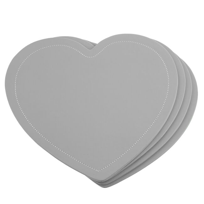 Reversible Heart Placemats - Grey & Duck Egg