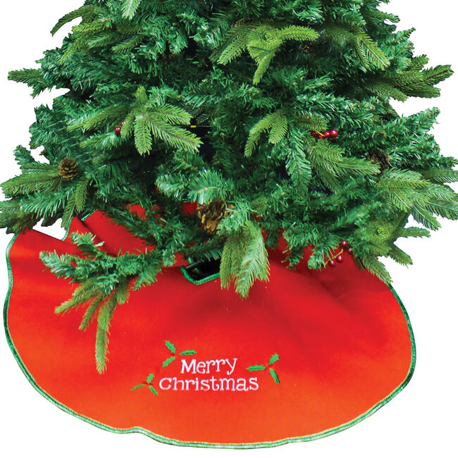 Tree Skirt with Merry Christmas Design