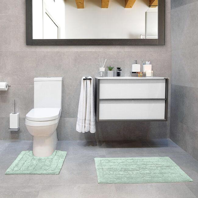Cotton Brick Dove Grey Bath Mat 50cm x 80cm