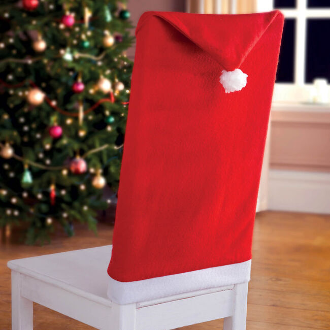 Set Of Two Santa Hat Chair Covers