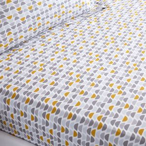 OLIVER GREY/OCHRE Single Fitted Sheet