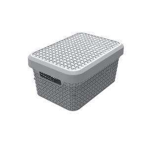 Ezy Mode 5.1L Small Lidded Basket Stone Grey