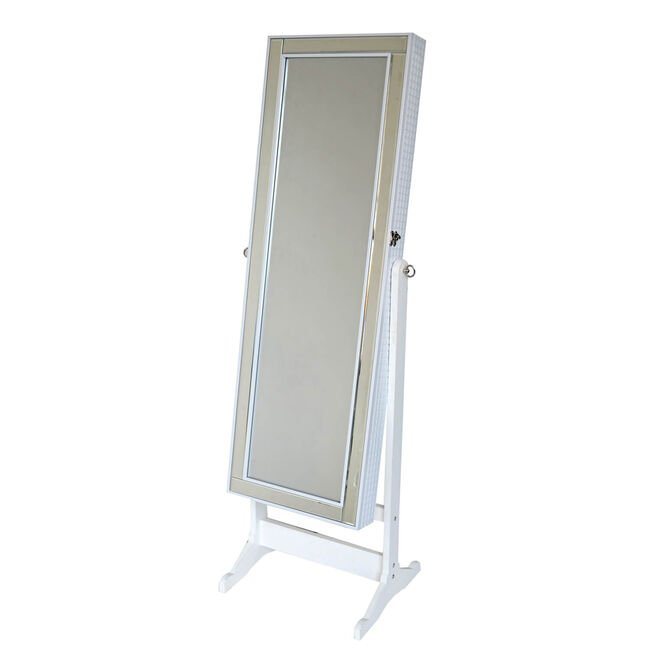 Cannon Quilted White Mirrored Jewellery Cabinet