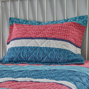 Annie Blue/Coral Pillowshams 50cm x 75cm