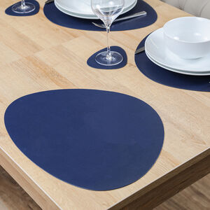 Oval Leather Placemats - Navy
