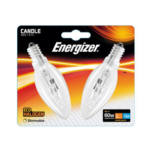 Eco Clear SES (E14) 2 Halogen Candle Bulbs 48W