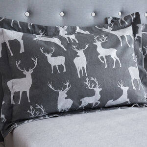 Brushed Cotton Textured Stag Pillowcase Pair
