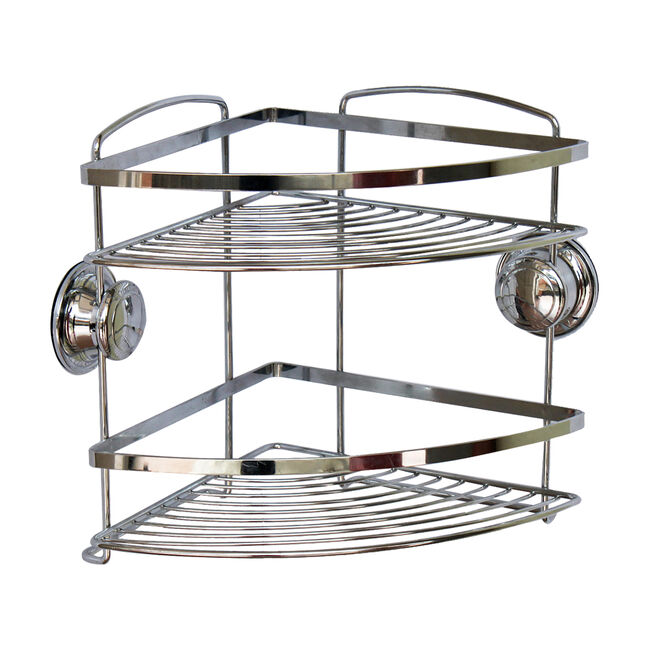 Chrome Corner Bathroom Caddy 2 Tier