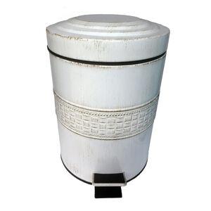 Aged White Mosaic  Pedal Bin 3L