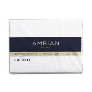 SINGLE FLAT SHEET 300Tc Bamboo/Ctn White