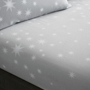 BRUSHED COTTON STARS GREY Single Fitted Sheet