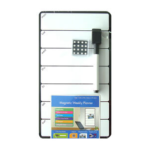 Magnetic Whiteboard Weekdays Black 14cm x 25cm