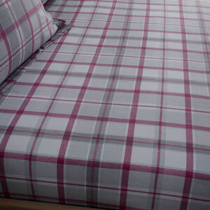 BRUSHED COTTON O'LEARY CHECK Single Fitted Sheet