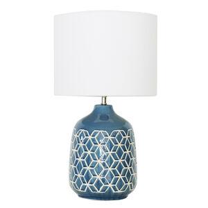 Blue Glazed Geometric Table Lamp