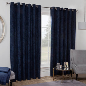 BLACKOUT & THERMAL HERRINGBONE NAVY 66x54 Curtain